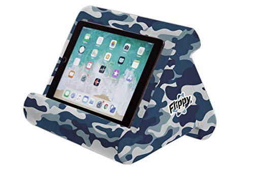 Flippy Multi-Angle Soft Pillow Lap Stand for Tablets, eReaders, Smartphones, Books, Magazines (Blue Camou)