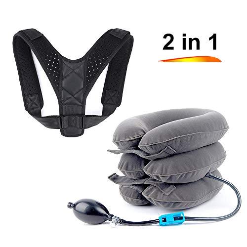 Hals-Zuggerät und Rückenhaltungskorrektur, Verstellbarer Nackendehner, Schulter- und Nackenschmerzen, Nackendehner, für Zuhause und Büro
