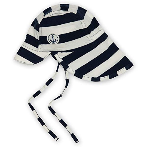 Sigikid Baby-Jungen Mütze aus Bio-Baumwolle für Kinder Sonnenhut, Blau-Weiß gestreift, 46 cm