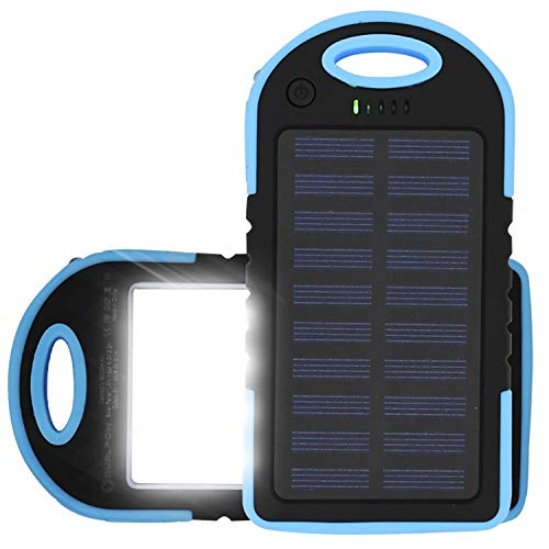 Solar Charger 6,000mAh, Dualpow Portable Dual USB Solar Battery Charger External Battery Pack Phone Charger Power Bank with 20 LEDs Flashlight