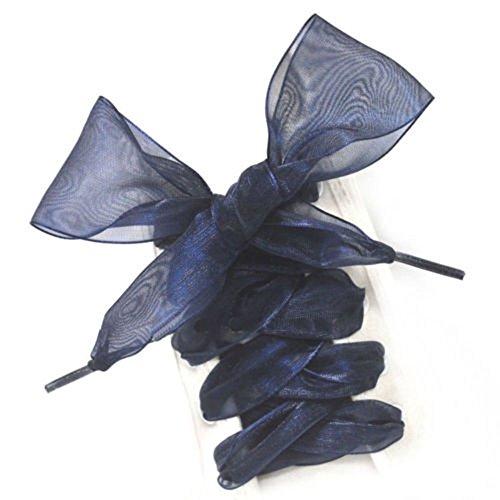 ICYANG 1 Paar Schnürsenkel Flache Satinband Turnschuhe Sportschuh Spitze Bogen Satin Shoestrings für Frauen Mädchen und Kinder, 43 Zoll lang Blau