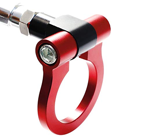 iJDMTOY Red Track Racing Style Tow Hook Ring Compatible with 2005-2010 Scion tC, Made of Lightweight Aluminum