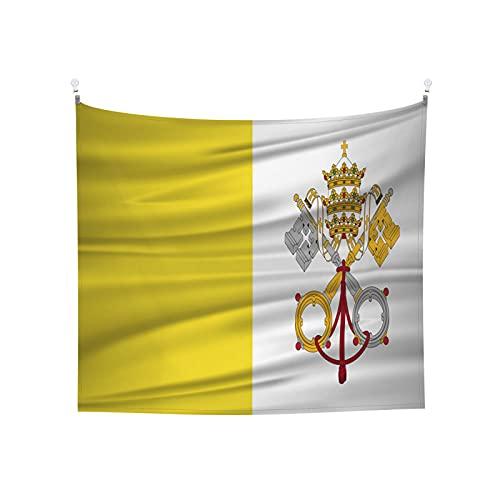 Wandteppich mit Vatikanstadt-Flagge, Boho, beliebt, mystisch, Trippy-Yoga, Hippie-Wandteppiche für Wohnzimmer, Schlafzimmer, Wohnheim, Heimdekoration, schwarz & weiß Stranddecke