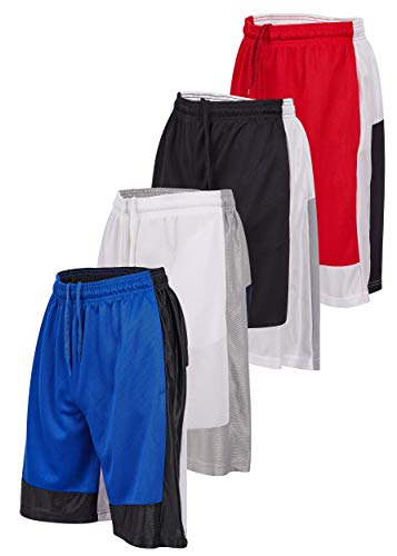 Starting 5 Mens Basketball Shorts with Pockets, Active Athletic Performance Color Block Mens Workout Shorts, 4 Pack