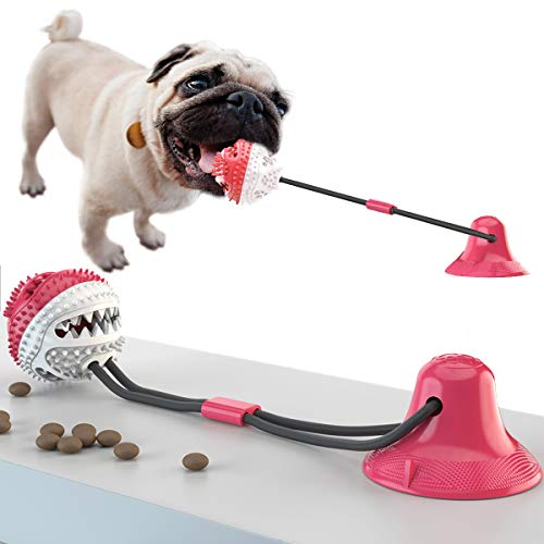 AOJ Update Dog Chew Toy,Tug Toy with Suction Cup, Dog Molar Bite Toy, Durable Self-Playing Rubber Ball Toy, Dog Teeth Cleaning Treats, Food Dispensing(Red)