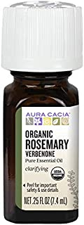 Aura Cacia 100% Pure Verbenone Rosemary Essential Oil | Certified Organic, GC/MS Tested for Purity | 7.4 ml (0.25 fl. oz.)...
