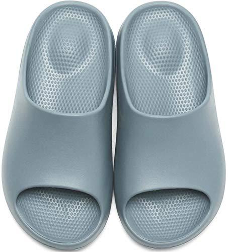 GILKUO Badeschuhe Damen Herren Badeschlappen Dusch Schuhe Bade Pantolette BadePantoletten Sommer Hausschuhe Sandalen Badelatschen Blau Größe 43 44