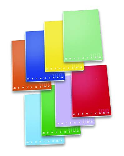 Pigna Monocromo 02298880A, Quaderno formato A4, Rigatura 0A, righe per 1° e 2° elementare, Carta 100g/mq, Pacco da 10 Pezzi