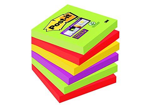 Post-it Super Sticky Notes Promotion Marrakesh Collection 654SM5+1 – Selbstklebende Haftnotizzettel in 76 x 76 mm – 6 Notizblöcke quadratisch à 90 Blatt in 4 Farben