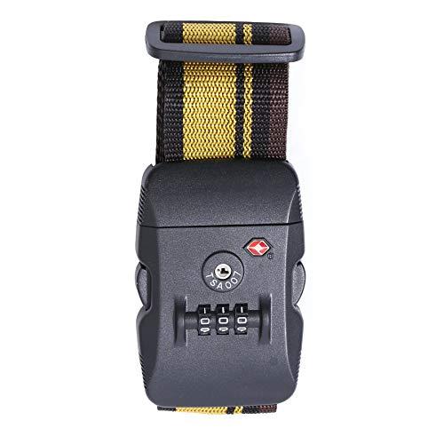 Logic(ロジック) スーツケースベルト TSAロック (全12色 イエロー×ブラック) [盗難・紛失・荷崩れ防止] トラベルベルト 長さ調節可能 海外旅行 出張用 スーツケースバンド 旅行鞄用ベルト トラベル 飛行機グッズ トランクベルト