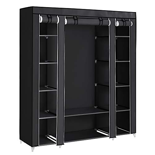 SONGMICS Portable Wardrobe, Foldable Closet, Clothes Storage Organiser with Hanging Rail, Shelves, Fabric Cover, for Bedroom, Cloakroom, 150 x 45 x 175 cm, Black LSF03H