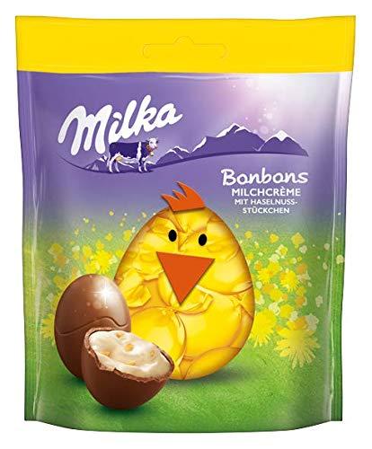 Milka Bonbons Milchcrème – Neues Design – Zartschmelzende Schokoladenbonbons aus feinster Alpenmilch mit Haselnussstückchen – 13 x 86g