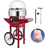Jolipro Machine à Barbe à Papa Bleue Professionnelle avec Chariot et Couvercle (rouge)