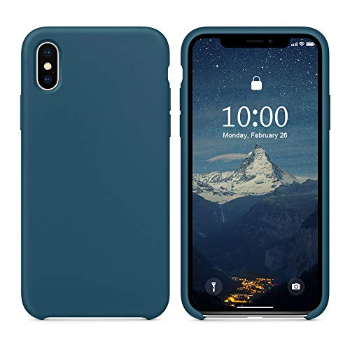 SURPHY Silicone Case for iPhone X iPhone Xs Case, Soft Liquid Silicone Shockproof Phone Case (with Microfiber Lining) Compatible with iPhone Xs (2018)/ iPhone X (2017) 5.8 inches (Cosmos Blue)