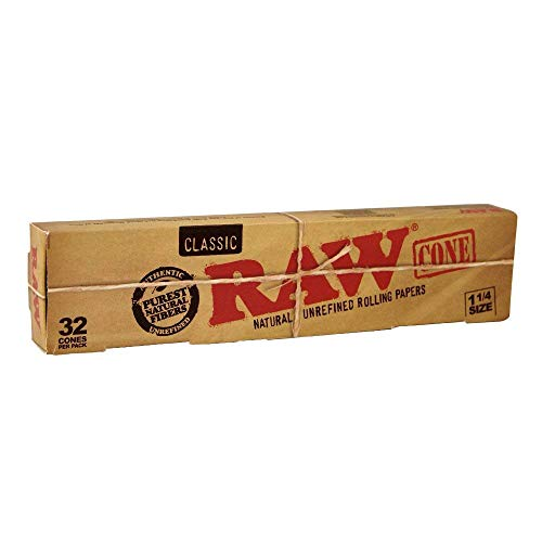 RAW Classic Mega Pack 32 Cones, Pre Rolled Rolling Paper Cone (1.25 SIZE) (5 Pack)