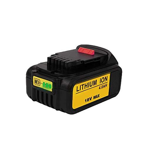 SHGEEN Batería de ion de litio para Dewalt 18 V DCB184, DCB200, DCB180, DCB181, DCB182 y DCB201 (4,0 Ah, 18 V/20 V, con indicador de carga LED)