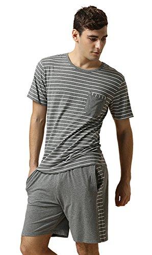 Sommer Streifen Schlafanzüge kurzer männer Modal Baumwoll Nachtwäsche Set Kurze àrmel Set Männer Pyjamas, Grey, L