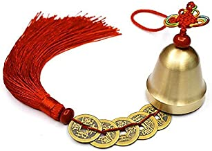 FIANUP Chinese Feng Shui Bell with 5 Coins for Wealth and Healthy Good Luck Car Home Hanging Pendant Wind Chime