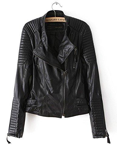 Yeokou Womens Casual Slim Short Embroidery Pu Leather Punk Motocycle Jacket Coat