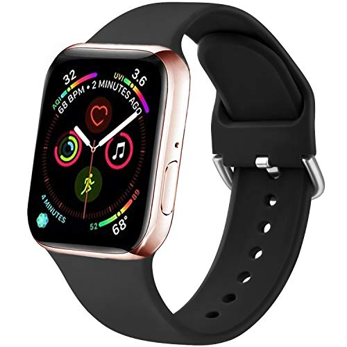 Funeng - Cinturino per Apple Watch da 38 mm, 40 mm, 42 mm, 44 mm, in morbido silicone per Apple Watch serie 6, 5, 4, 3, 2,1 (38/40 mm, S/M, 01 nero)