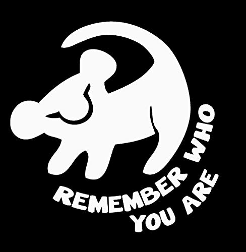 Makarios LLC Simba Lion King Remember who You are Cars Trucks Vans Walls Laptop MKR| White |5.5 x 5.5|MKR675