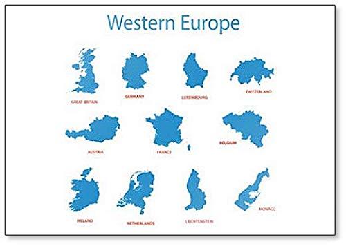 West-Europa - Kaarten met Gebieden Klassieke Koelkast Magneet