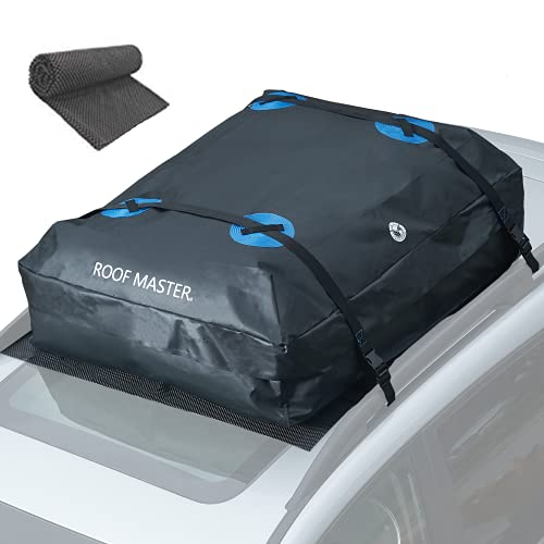 ROOFMASTER Rooftop Cargo Carrier for All Cars & Automobiles with or Without Roof Rack. Unique Waterproof Design - 16 Cu ft Roof Bag. Includes Roof Top Mat