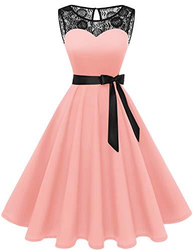 Bbonlinedress 1950er Ärmellos Vintage Retro Spitzenkleid Rundhals Abendkleid Blush XL