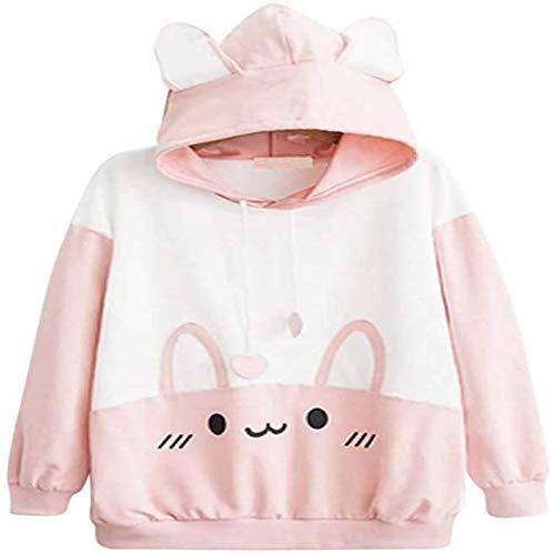 Anime Primavera y Otoño Chica Suéter Con Capucha Oído Ropa Panda Chaqueta Casual Yoga T-shirt Top Tamaño Libre - blanco - talla única