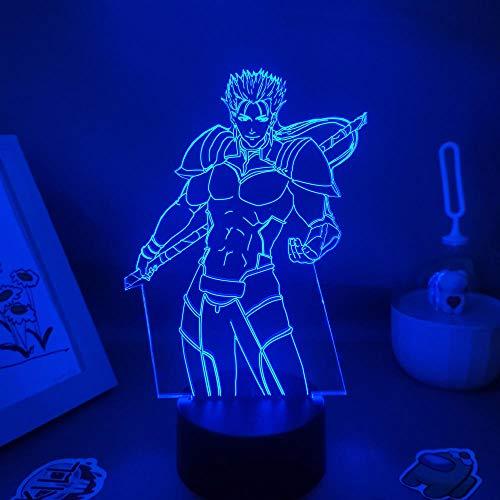 3D Luz de Noche Destino Estancia Noche Anime Figura Lancer Heroico Espíritu 3D Led Luz de Neón Regalo Amigo Colorido USB Lava Lámpara Manga Decoración de Mesa ZGLQ