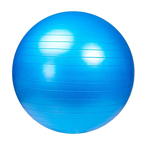 Exercise Ball 55cm, Anti-Burst and Slip Resistant Ball with Pump, Future Way Fitness Ball Yoga Ball for Pregnancy, Exercise, Therapy or Office as Chair, Workout Guide, Resistance Band Included - Blue