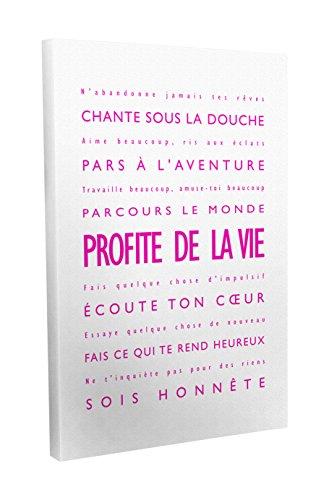 Feel Good Art Profite de la Vie Toile sur Cadre Mural de Style Moderne/Typographique Rose Vif/Blanc 91 X 60 cm