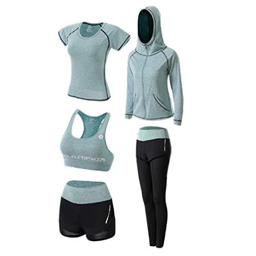 Inlefen Chándal de Mujer Yoga Ropa Deportiva Trajes Abrigo con Capucha Sudadera Dos Pantalones Running Athletic 5pcs Conjuntos