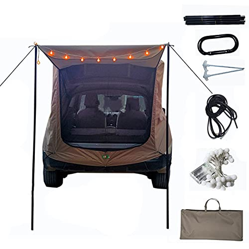 Miugwp Toldo de Sombra para Puerta Trasera, Refugio Solar para Coche Portátil Impermeable para SUV Tour al Aire Libre Picnic Barbacoa Pesca Conducción Acampada