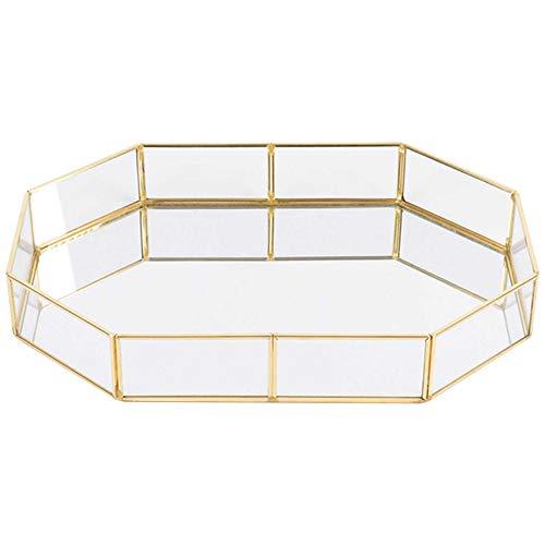 Spiegeltablett gespiegelten verzierten dekorative Fach Kosmetik Organizer schminktisch aufbewahrung für Schmuck/Make-up Veranstalter Gold