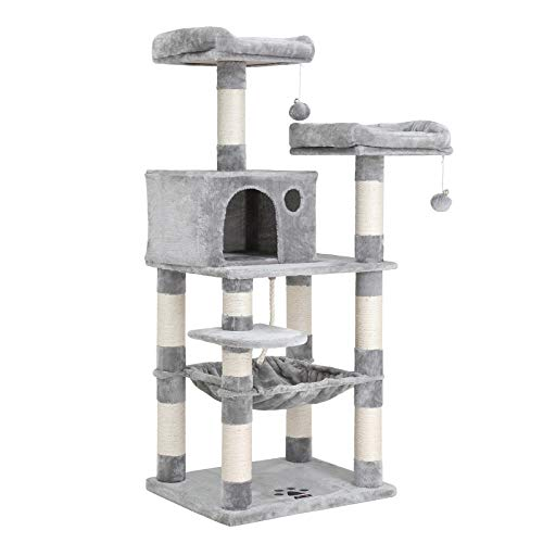 FEANDREA 56 inches Multi-Level Cat Tree with Hammock, Cat Tower for Large Cats UPCT15W