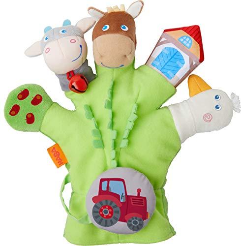 HABA 304933 - Spielhandschuh Bauernhof, weiche Fingerpuppen mit Bauernhofmotiven und Traktor zum Abnehmen, Baby-Spielzeug ab 18 Monaten