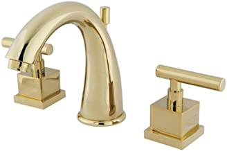 Kingston Brass KS2962CQL Claremont 8-Inch Widespread Lavatory Faucet with Brass Pop-Up, Polished Brass