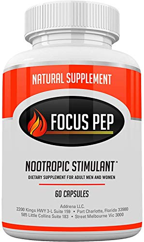 Focus-Pep- Nootropic Brain Supplement & Stimulant Energy Booster | Natural Cognitive Enhancer Pills as The Best Alpha Brain Wave Booster Nootropics- 60 Pills