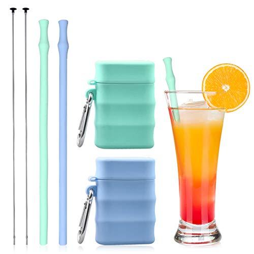 Set di 2 cannucce in silicone riutilizzabili riutilizzabili e pieghevoli, con spazzola per la pulizia e custodia, facili da pulire, compatibili con acqua calda e fredda