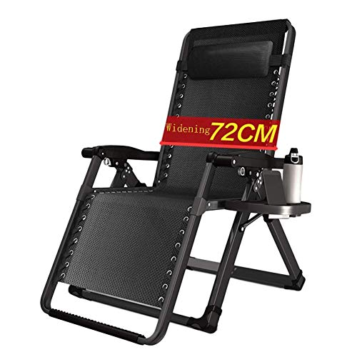 WGFGXQ Oversize Patio Zero Gravity Lounge Chair for Heavy Duty People, Garden Reclining with Wide Armrest and Cup Holder, Support 200kg (Color : Without Cushions)