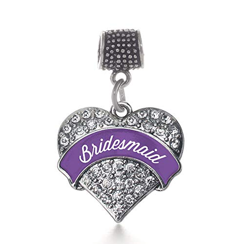 Inspired Silver Purple Bridesmaid Pave Heart Memory Charm Fits Pandora Bracelets & Compatible with Most Major Brands such as Chamilia, Murano, Troll, Biagi and other European Bracelets