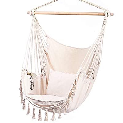 Y- STOP Hammock Chair Hanging Rope Swing-Max 330 Lbs-2 Cushions Included-Large Macrame Hanging Chair with Pocket- Quality Cotton Weave for Superior Comfort & Durability (Beige)