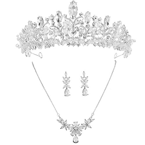 S SNUOY Bridal Tiara Set Silver Rhinestone Necklace and Earring Jewelry Set for Prom Party