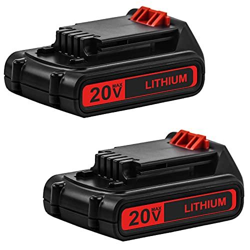 2 Packs 20 Volt 3.0Ah LBXR20 Battery Compatible with Black and Decker 20V Lithium Battery LB20 LBX20 LBXR2020-OPE LB2X4020