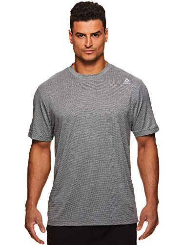 Reebok Men's Supersonic Crewneck Workout T-Shirt Designed with Performance Material - Sprint Charcoal Heather Grey, Large