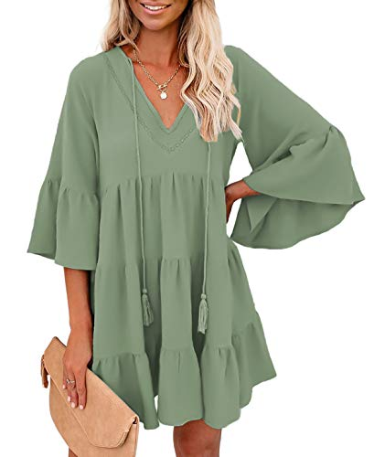 BTFBM Women Casual Babydoll Dresses V Neck Ruffle Bell Sleeve Solid Color Swing Mini Dress with Tassel Tie Drawstring(Green, Large)