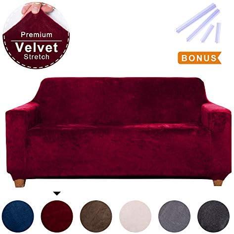 Best ACOMOPACK Premium Velvet High Stretch Loveseat Slipcovers, Spandex Wine Red Loveseat Couch Covers fo