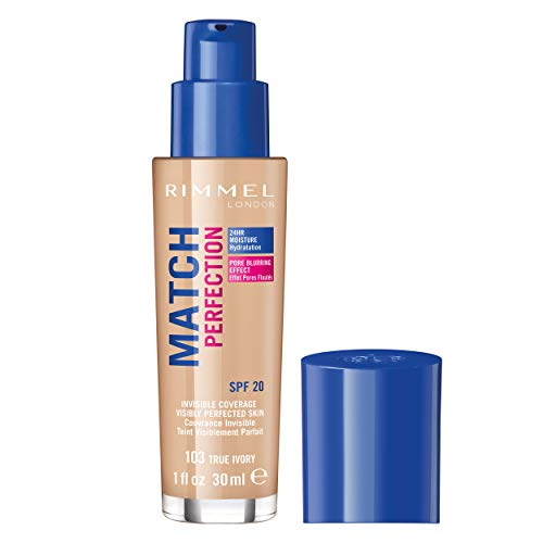 Rimmel - Fond de Teint Match Perfection - Couvrance Légère - Hydratation 24H - 103 True Ivory - 30ml