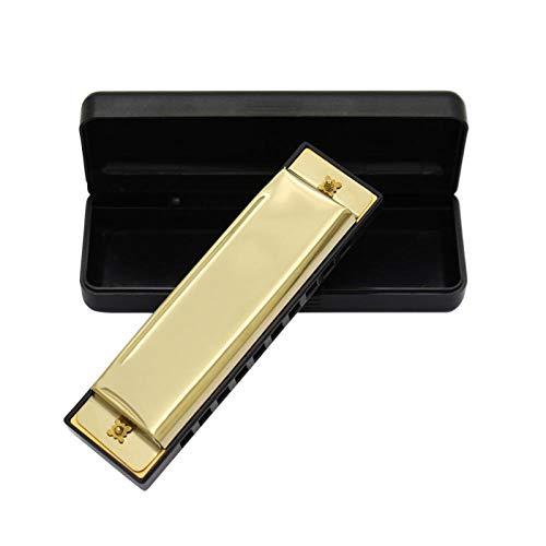 Armónica portátil de 10 hoyos práctica para músicos de armónica para practicar(Golden)